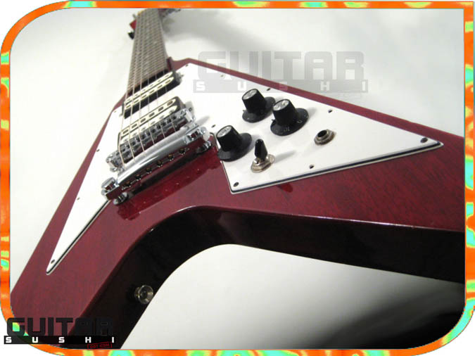Vintage 1975 Electra 2236 Flying Wedge V Electric Guitar with Original Hardshell Case wine red burgundy finished mahogany body with two original double coil humbucking pickups and chrome hardware [GUITAR SUSHI] Maintaining a wide-stance since 2006 | www.guitarsushi.com
